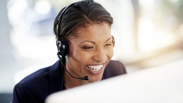 Female Schaeffler employee in a telephone interview.