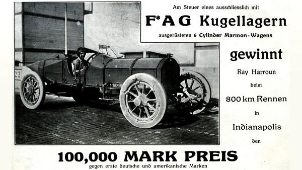 Wälzlager finden in immer mehr Automobilen Anwendung. Ray Harroun gewinnt das erste 500-Meilen-Rennen von Indianapolis in einem Marmon, der ausschließlich mit FAG-Kugellagern ausgerüstet war.