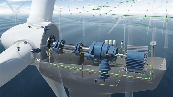 Am Condition Monitoring System sind sieben Beschleunigungssensoren am Antrieb der Windenergieanlage verbaut.